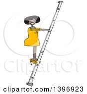 Cartoon Black Business Woman Climbing A Ladder