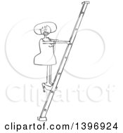 Clipart Of A Cartoon Black And White Lineart Woman Climbing A Ladder Royalty Free Vector Illustration by djart