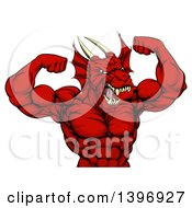 Clipart Of A Cartoon Roaring Red Muscular Dragon Man Flexing From The Waist Up Royalty Free Vector Illustration by AtStockIllustration