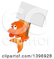 Clipart Of A Cartoon Happy Goldfish Holding A Blank Sign Royalty Free Vector Illustration
