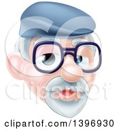 Clipart Of A Cartoon Happy Caucasian Senior Citizen Man Wearing Glasses And A Hat Royalty Free Vector Illustration
