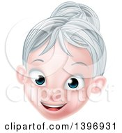 Clipart Of A Cartoon Happy Caucasian Senior Citizen Woman With Silver Hair Royalty Free Vector Illustration