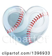 Clipart Of A Baseball In The Shape Of A Heart Royalty Free Vector Illustration