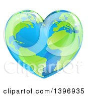 Clipart Of An Earth Globe In The Shape Of A Heart Royalty Free Vector Illustration