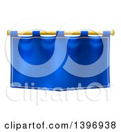 Clipart Of A Medieval Royal Blue Banner Falg On A Gold Rod Royalty Free Vector Illustration