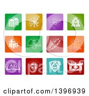 White Christian Icons On Colorful Square Tiles With Rounded Corners