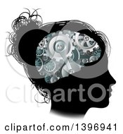 Clipart Of A Black Silhouetted Girls Face With 3d Gear Cogs Visible In Her Brain Royalty Free Vector Illustration by AtStockIllustration
