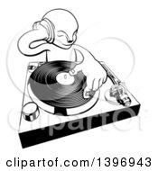 Clipart Of A Black And White Alien Dj At A Turntable Royalty Free Vector Illustration