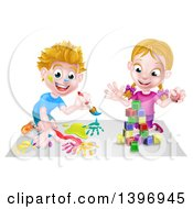 Clipart Of A Cartoon Happy White Boy Kneeling And Painting Artwork And Girl Playing With Toy Blocks Royalty Free Vector Illustration by AtStockIllustration