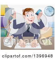 Clipart Of A Cartoon Caucasian Business Man Multi Tasking With Many Arms At His Office Desk Royalty Free Vector Illustration