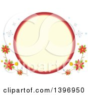 Clipart Of A Circular Label Frame With Winter Snowflakes And Poinsettias Royalty Free Vector Illustration