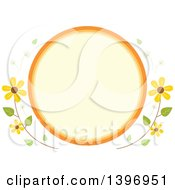 Circular Label Frame With Summer Time Flowers