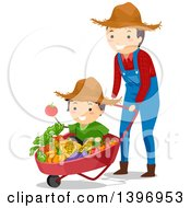 Happy Father Pushing His Son In A Wheelbarrow Full Of Harvest Vegetables
