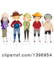 Clipart Of A Group Of Farmers Royalty Free Vector Illustration