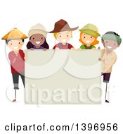 Group Of Farmers Around A Blank Sign