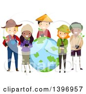 Clipart Of A Group Of Farmers Holding Plants Around Earth Royalty Free Vector Illustration