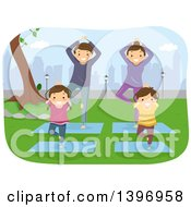 Clipart Of A Happy Family Doing Yoga In A Park Royalty Free Vector Illustration