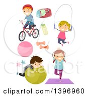 Clipart Of A Group Of Children Working Out Royalty Free Vector Illustration