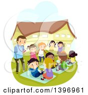 Clipart Of Children Competing At Sit Ups Royalty Free Vector Illustration