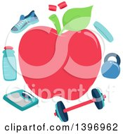 Clipart Of A Red Apple Frame Bordered With Gym Equipment Royalty Free Vector Illustration by BNP Design Studio