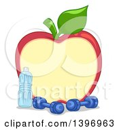 Clipart Of A Red Apple Frame With Dumbbells And A Bottled Water Royalty Free Vector Illustration