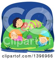 Clipart Of A Group Of Children Sleeping On A Dinosaur Royalty Free Vector Illustration