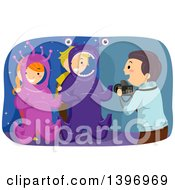 Clipart Of A Man Taking Pictures Of Kids In Alien Photo Ops Royalty Free Vector Illustration by BNP Design Studio