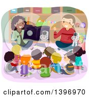 Clipart Of A Group Of Students Sitting And Listening To Astronomy Teachers Royalty Free Vector Illustration