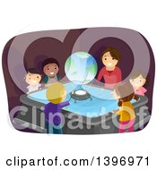 Clipart Of A Group Of Students Watching A Globe Hologram In Class Royalty Free Vector Illustration by BNP Design Studio