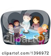 Clipart Of A Teacher Projected By A Hologram Talking To Students Royalty Free Vector Illustration