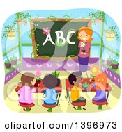Clipart Of A Female Teacher And Children Learning About Botany Royalty Free Vector Illustration