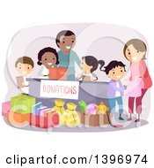 Clipart Of A Group Of Students Organizing A Donation Drive Royalty Free Vector Illustration by BNP Design Studio