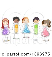 Clipart Of A Group Of Students With Science Flask And Tube Bodies Royalty Free Vector Illustration by BNP Design Studio