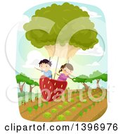 Clipart Of A Group Of Students Flying In A Strawberry And Lettuce Balloon Over A Crop Royalty Free Vector Illustration