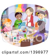 Clipart Of A Group Of Students And Teacher In Sewing Class Royalty Free Vector Illustration by BNP Design Studio