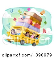 Clipart Of A Group Of Students On A Flying Bus Royalty Free Vector Illustration