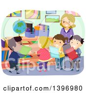 Clipart Of A Group Of Students Turning In Their Homework Royalty Free Vector Illustration