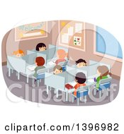 Clipart Of A Group Of Students Seated At Library Tables Royalty Free Vector Illustration