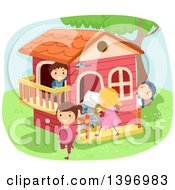 Clipart Of A Group Of Kids Playing House Royalty Free Vector Illustration