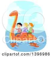 Clipart Of A Group Of Children Riding On A Swimming Pliosaur Dinosaur Royalty Free Vector Illustration
