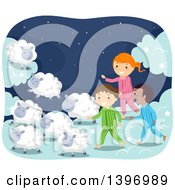 Clipart Of A Group Of Children In Pjs Walking With Sheep Royalty Free Vector Illustration