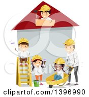 Teacher And Children Building A House