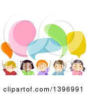 Clipart Of A Group Of Children Under Speech Bubbles Royalty Free Vector Illustration by BNP Design Studio