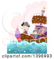 Clipart Of A Group Of Imaginative Children On A Candy Pirate Ship Royalty Free Vector Illustration