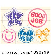 Clipart Of Preschool Encouraging Stamps On Ruled Paper Royalty Free Vector Illustration