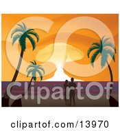 Romantic Couple Watching The Sunset On A Tropical Beach Clipart Illustration