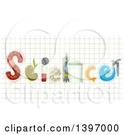 Clipart Of The Word Science Made Of Elements On Graph Paper Royalty Free Vector Illustration