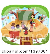 Clipart Of A Female Tecacher Reading To Students In A Tree House Class Room Royalty Free Vector Illustration by BNP Design Studio