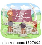 Clipart Of A Caveman Teacher And Children Learning The Alphabet Royalty Free Vector Illustration by BNP Design Studio