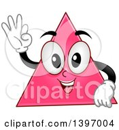 Clipart Of A Happy Pink Triangle Shape Character Royalty Free Vector Illustration